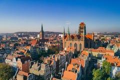 Вид с воздуха старого городка в Гданьск, Польши стоковые фотографии rf