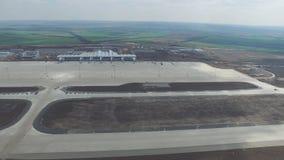 Вид с воздуха стержней и башни Вид с воздуха авиапарка около центра города Кракова Крупный аэропорт, ремесла воздуха Стоковое Фото
