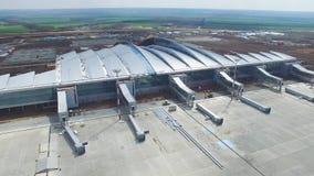 Вид с воздуха стержней и башни Вид с воздуха авиапарка около центра города Кракова Крупный аэропорт, ремесла воздуха Стоковые Изображения
