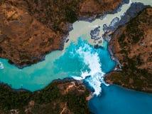 Вид с воздуха стечения реки хлебопека стоковые фотографии rf