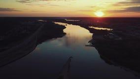 Вид с воздуха стечения 2 рек в Каунасе, Литве акции видеоматериалы