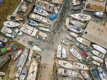 Вид с воздуха сухих доков и верфи в Olhao, Португалии стоковые изображения