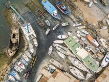 Вид с воздуха сухих доков и верфи в Olhao, Португалии стоковое фото