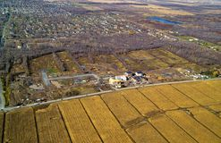 Вид с воздуха типичного жилого района в конструкции Стоковая Фотография RF