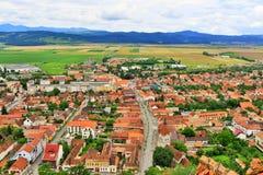 Вид с воздуха Трансильвания Румыния городка Râșnov стоковое фото rf