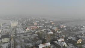 Вид с воздуха украинской деревни зима времени снежка цветка акции видеоматериалы