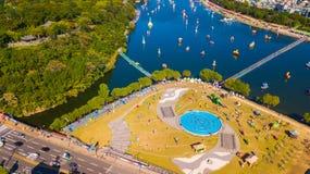 Вид с воздуха фестиваля Чинджу Namgang Yudeung в городе Чинджу, Sou стоковые фотографии rf
