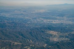 Вид с воздуха центра города и Westwood Лос-Анджелеса городских стоковые изображения rf