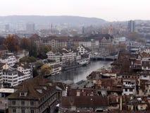 Вид с воздуха центра города Цюриха стоковые фото