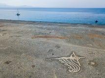 Вид с воздуха черного каменного пляжа, Nonza, геометрических дизайнов сделанных с камнями Стоковое Изображение