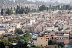 Вид с воздуха четверти в Fes, Марокко Fes el-Бали Стоковая Фотография RF
