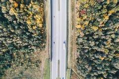 Вид с воздуха шоссе на осени Стоковые Фотографии RF