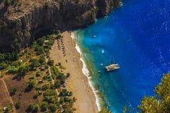 Вид с воздуха Kelebekler Vadisi Butterfly Valley, Mugla, Турция стоковое изображение rf