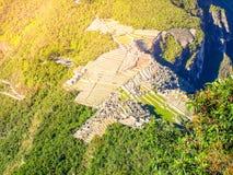 Вид с воздуха Machu Picchu от Huayna Picchu Стоковое Фото