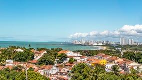 Вид с воздуха Olinda и Ресифи в Pernambuco, Бразилии стоковые изображения rf