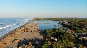 Вид с воздуха, Poneloya, Никарагуа Стоковая Фотография RF