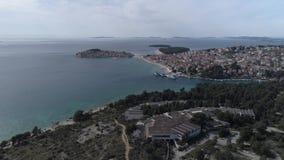 Вид с воздуха Primosten видеоматериал