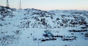 Вид с воздуха Teriberka России во время зимы видеоматериал