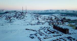 Вид с воздуха Teriberka России во время зимы сток-видео