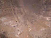 Вид с воздуха Timanfaya, национального парка, панорамного вида вулканов кратер Lanzarote, Канарские острова, Испания стоковые изображения rf