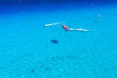 Вид с птичьего полета деятельности при Watersports на карибском океане Стоковые Фото