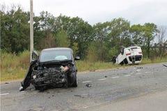 движение аварии поврежденное автокатастрофой Стоковые Изображения RF
