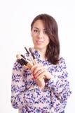 Визажист девушки с щетками Стоковое Изображение RF