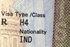 Виза иждивенца Соединенных Штатов Америки h4 стоковое изображение rf