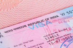 Виза Республики Индия Стоковая Фотография