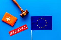 Виза Schengen Иммиграция к концепции Европы Иммиграция текста около крышки пасспорта и европейского флага на голубой предпосылке стоковое изображение rf
