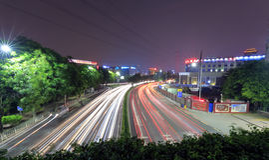 Визирование ночи уличного движения Гуанчжоу Стоковые Изображения RF