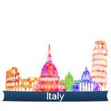 Визирования Италия, иллюстрация вектора Стоковое Изображение RF