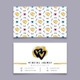 Визитная карточка агенства свадьбы, плановик события, координатор торжеств, ультрамодный дизайн иллюстрация штока