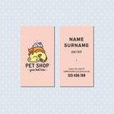 Визитная карточка вектора зоомагазина розовая Милый пестротканый логотип с собакой, котом и зайчиком спать Стоковое Фото