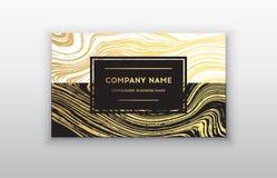 Визитная карточка вектора золотая с щеткой Стоковые Изображения