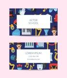 Визитная карточка значков театра вектора плоская бесплатная иллюстрация