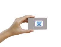 Визитная карточка или кредитная карточка пробела владением руки Стоковое Фото