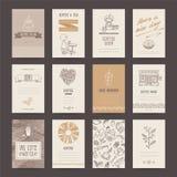 Визитная карточка кофейни, рогулька, шаблон меню иллюстрация штока