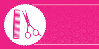 Визитная карточка парикмахерскаи с ножницами и гребнем Стоковые Изображения