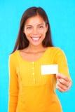 визитная карточка показывая женщину стоковая фотография rf