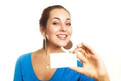 визитная карточка показывая нам женщину Стоковые Фото