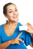 визитная карточка показывая нам женщину Стоковые Изображения