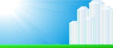 Визитная карточка с небом и небоскребами Стоковое Фото