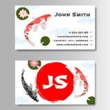 Визитная карточка шаблона стиля Koi карпа азиатская Стоковые Изображения RF