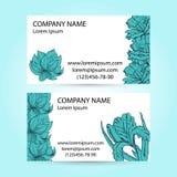 2 визитной карточки с покрашенными рукой цветками эскиза Стоковые Фото
