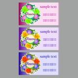 3 визитной карточки цветка, карточки имени, талон бесплатная иллюстрация
