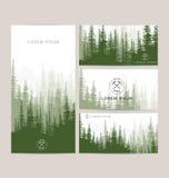 Визитные карточки конструируют комплект зеленого backgrou леса и гор бесплатная иллюстрация