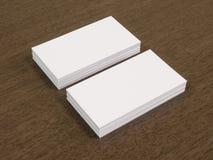 Визитные карточки на деревянном столе Стоковое Изображение