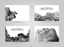 Визитные карточки при абстрактное облако чернил нарисованное вручную с col Стоковая Фотография RF