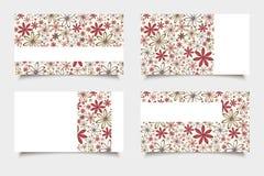 Визитные карточки с красными и бежевыми цветками Вектор EPS-10 Стоковое Фото